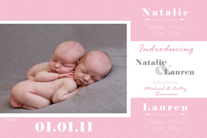 baby announcement for twins, baby announcement cards for girl twins, photo baby announcement card, birth announcement cards for twins,