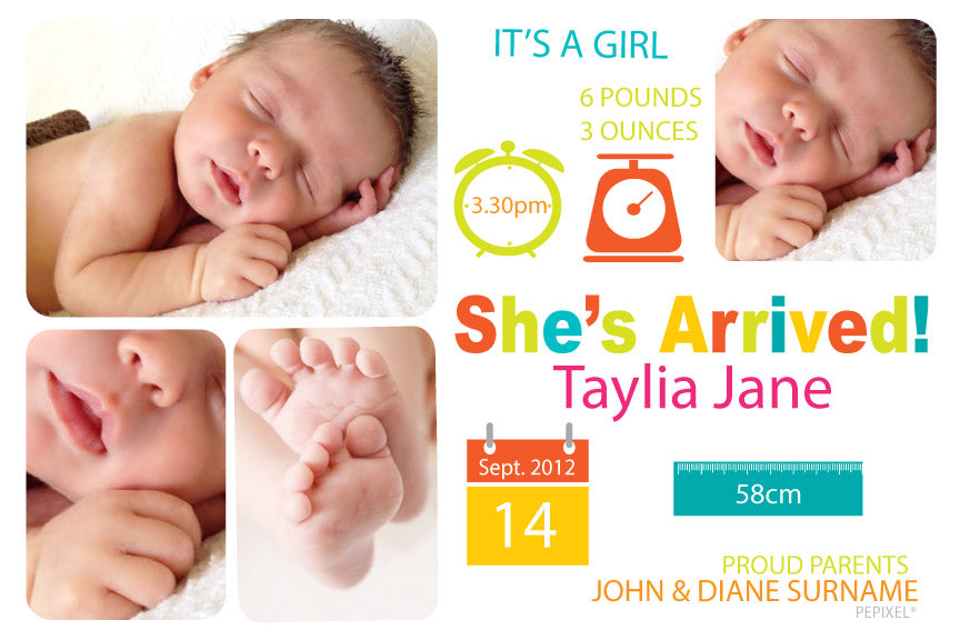 baby announcement for a girl, baby announcement cards for a girl, photo baby announcement card,