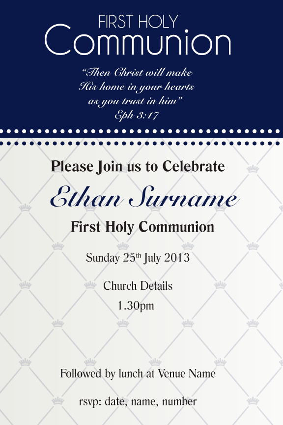 navy communion Invitation for boys, navy confirmation invitation for boys,