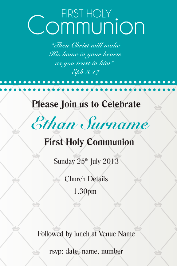 Teal communion Invitation for boys, Teal confirmation invitation for boys,