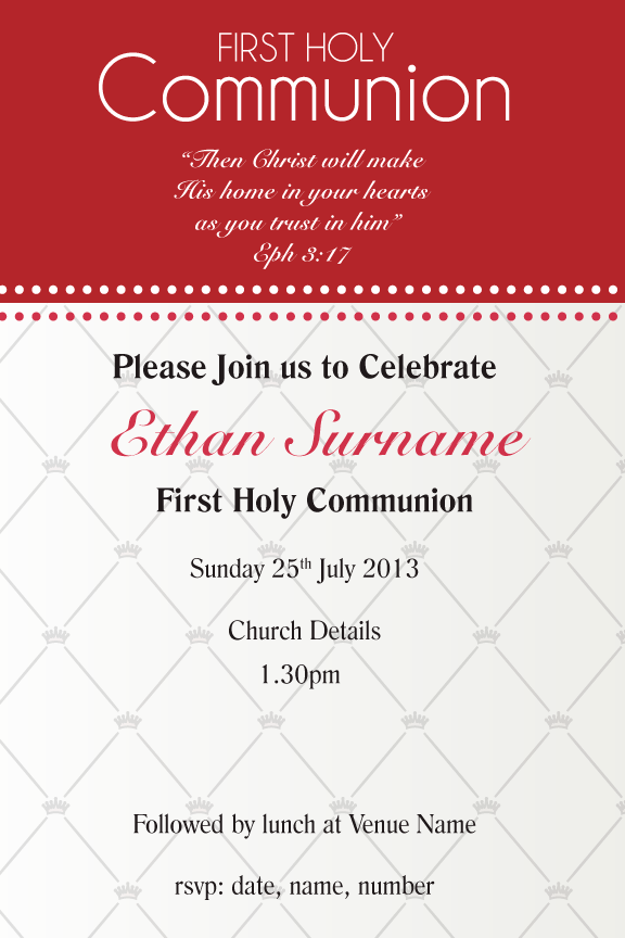 Red communion Invitation for boys, red confirmation invitation for boys,