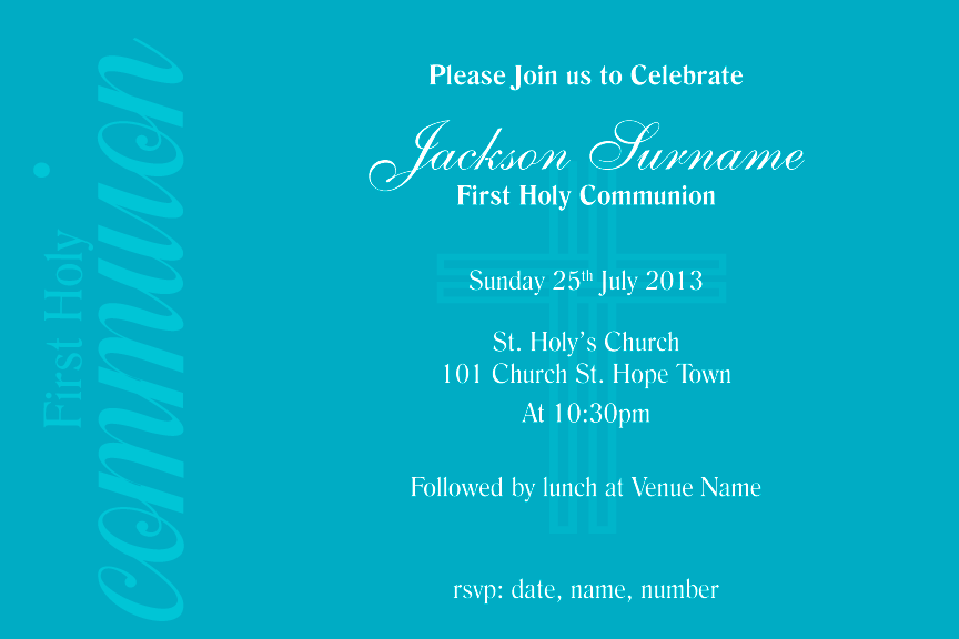 Teal communion Invitation for girls, Teal confirmation invitation for girls