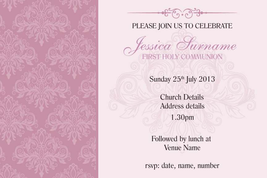 Pink damask communion invitation for girls, Pink damask confirmation invitation for girls,