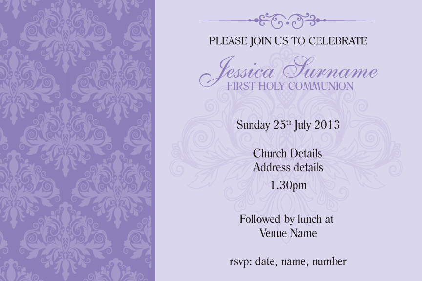 Purple damask communion invitation for girls, Purple damask confirmation invitation for girls,
