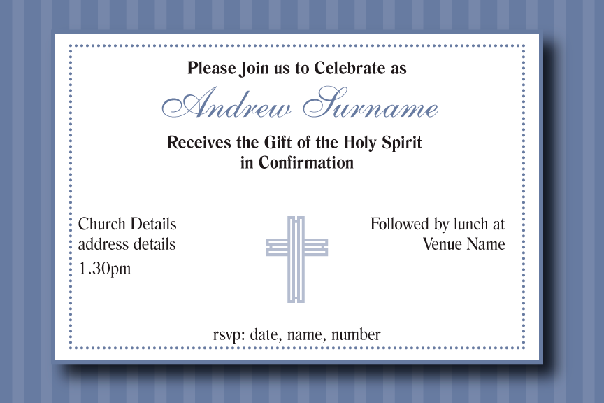 Blue striped communion invitation for boys, blue striped confirmation invitation for Boys,