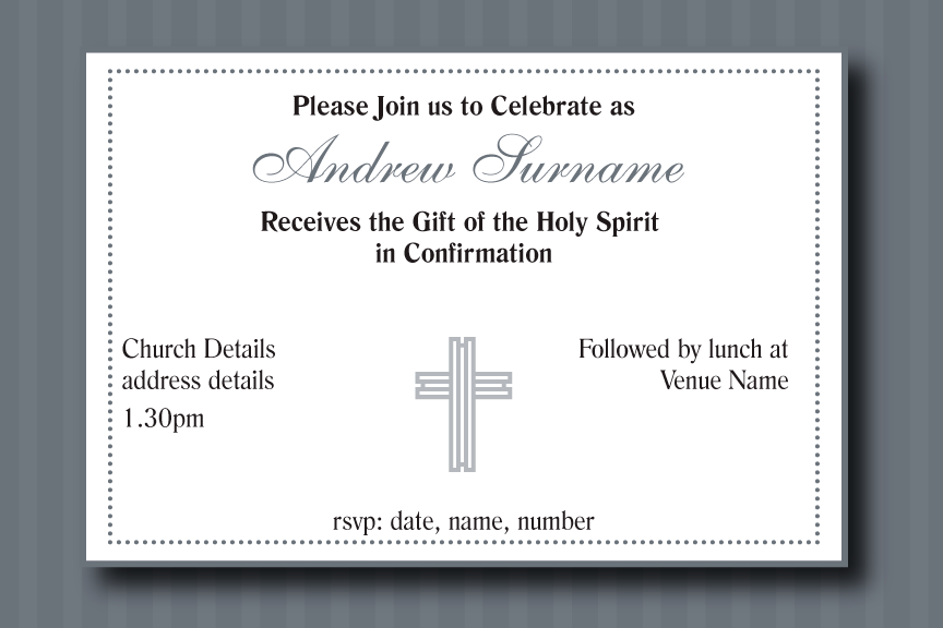 Grey striped communion invitation for boys, Grey striped confirmation invitation for Boys,