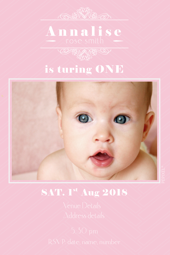 1st birthday pink birthday party invitation for little girl,  photo invitations,