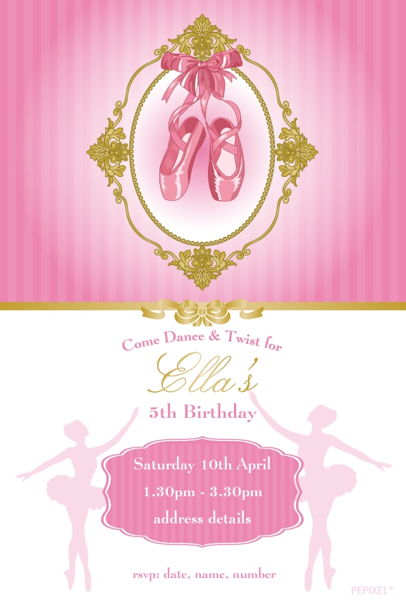 ballerina birthday invitations, pink and gold ballerina birthday invitation,