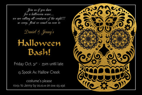 Halloween birthday invitations, Halloween gold sugar skull party invitations, day of the dead invitation,