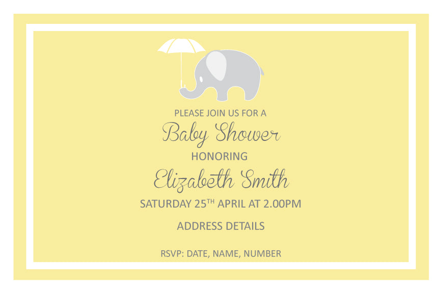 Yellow with elephant baby shower invitation, baby shower invitation for boys, baby shower invitation for girls,