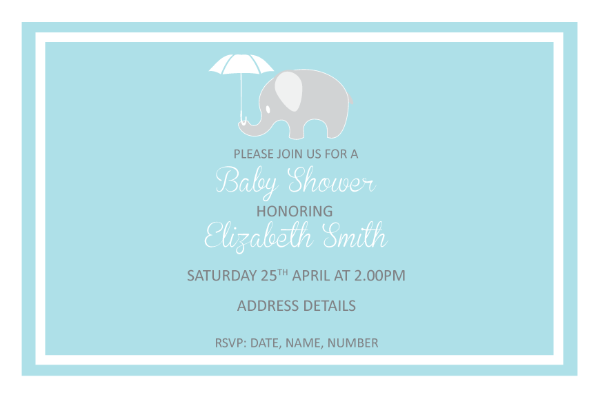Blue with elephant baby shower invitation, baby shower invitation for boys