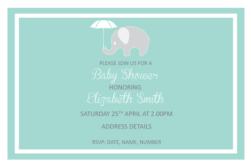 Green with elephant baby shower invitation, baby shower invitation for boys, baby shower invitation for girls,