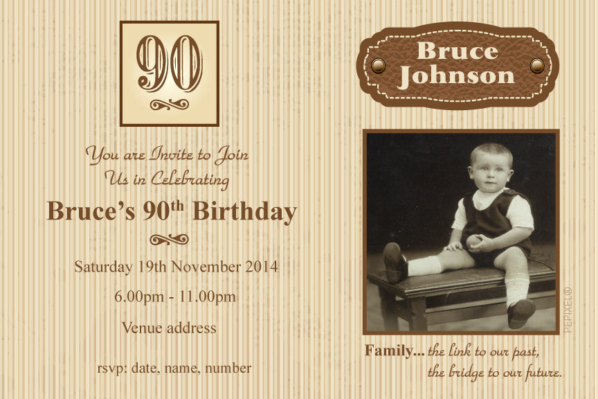 80th birthday invitation, 90th photo birthday party invitation