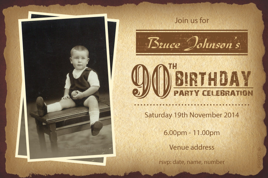 Antique birthday invitation, old looking photo birthday invitation,