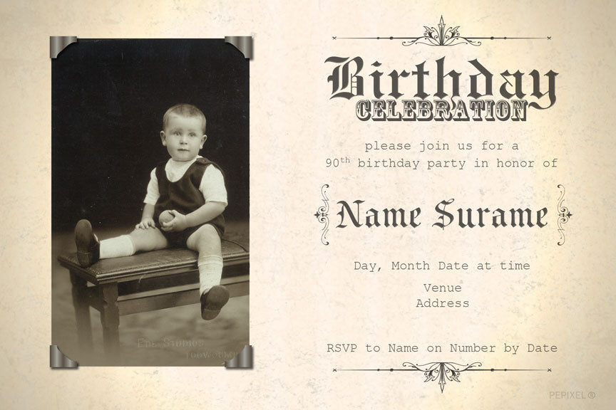 Vintage certificate birthday invitation, old press birthday invitation