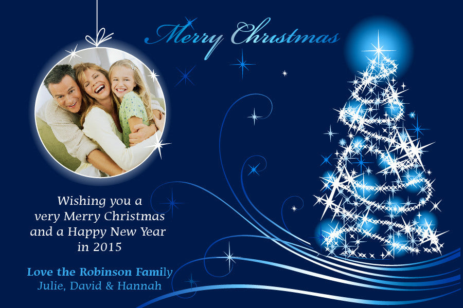blue Christmas photo card,  photo Christmas greeting card,