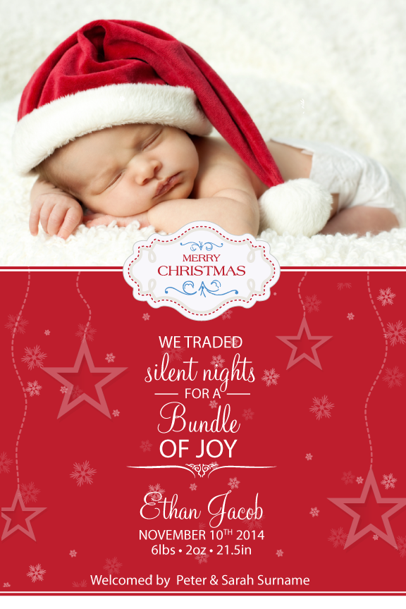 Christmas photo card,  holiday greeting cards photo,  baby's first Christmas with photo holiday Christmas greeting card,