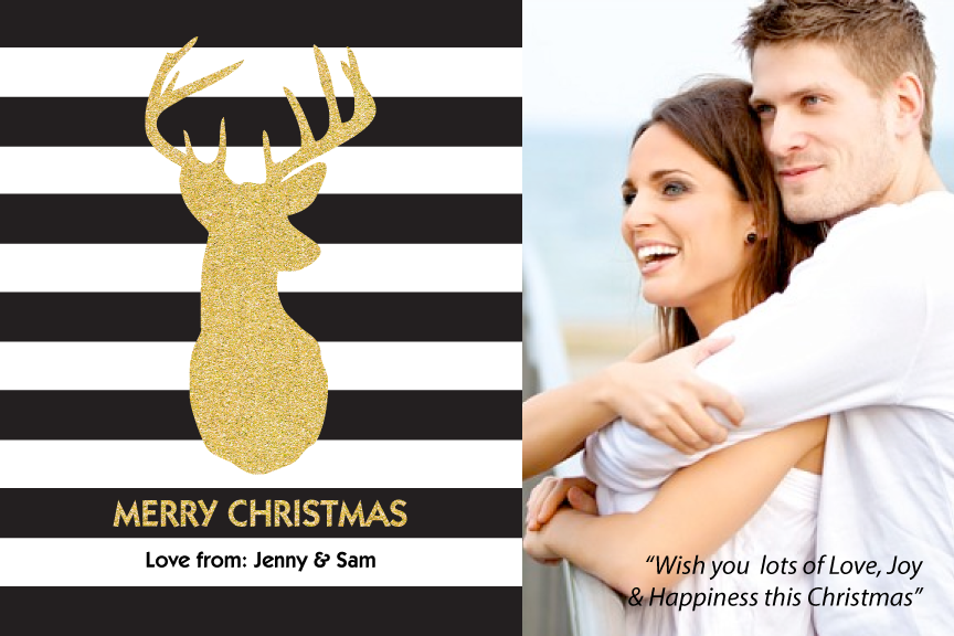 Christmas photo card,  holiday greeting cards photo,   black white and gold with photo holiday Christmas greeting card,