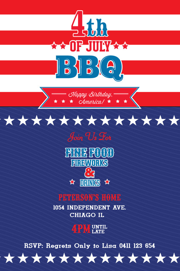 4th of july printable invitation template 4th july celebrations