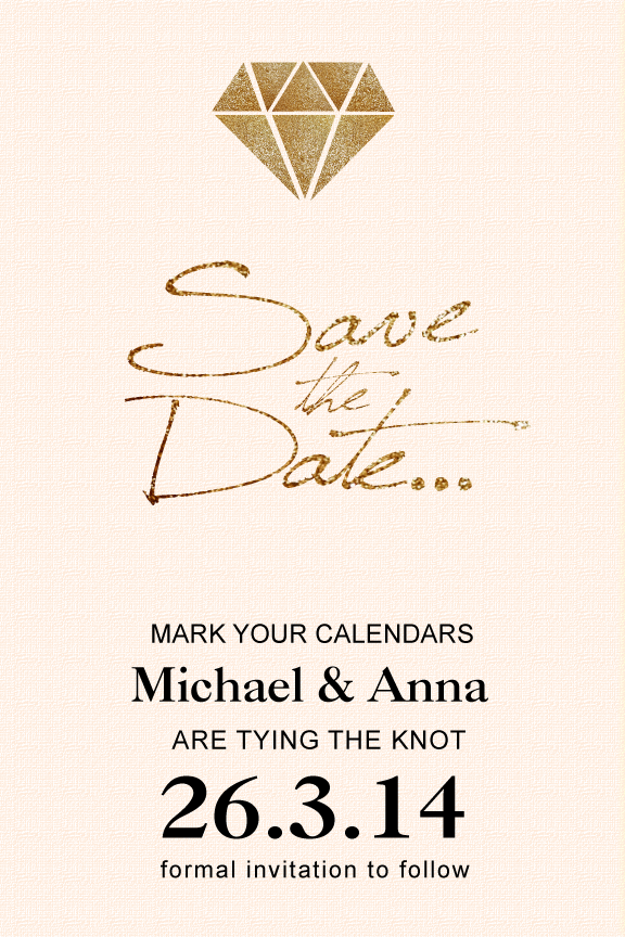 gold glitter diamond wedding save the date card,