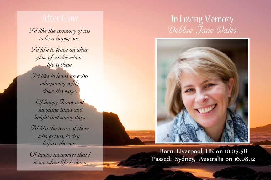 bereavement cards, sunset beach memorial card with photo,