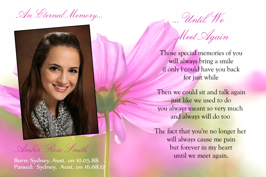 bereavement floral cards, floral memorial card with photo,