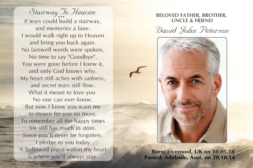 bereavement cards, ocean memorial funeral card with photo
