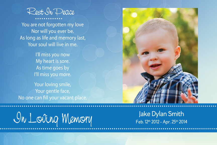 bereavement cards, blue memorial funeral card with photo,