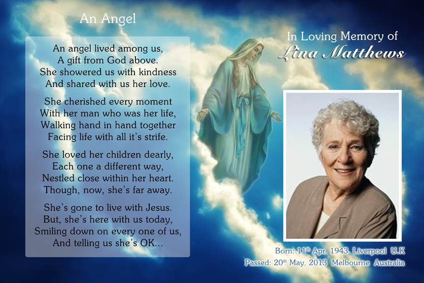 bereavement cards, memorial photo funeral card with holy Mary,
