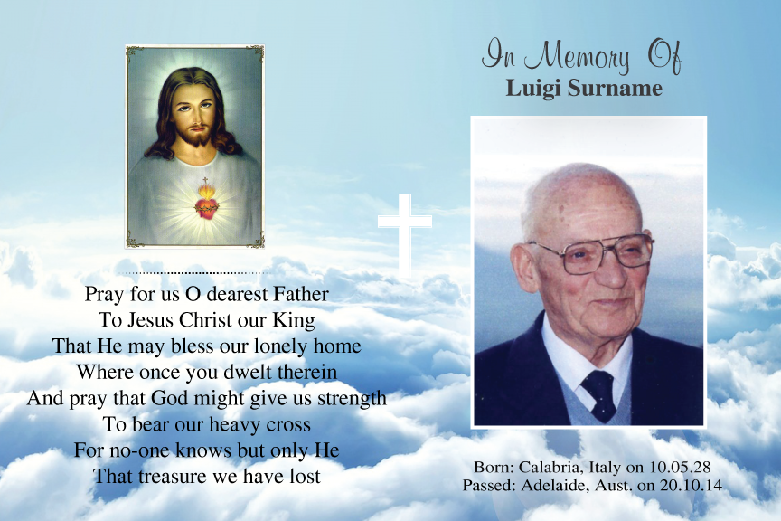 bereavement cards, blue sky memorial photo funeral card with Jesus,