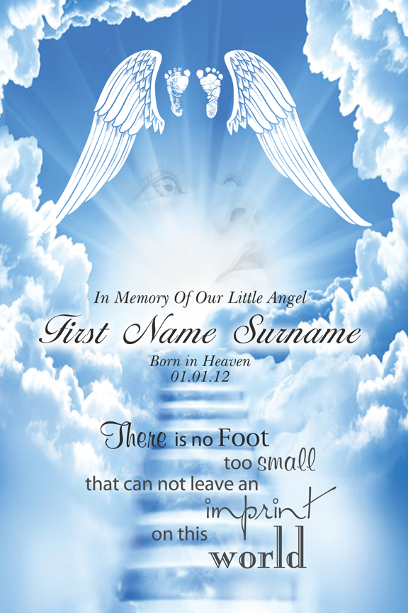 bereavement cards, angel wings memorial card with photo,