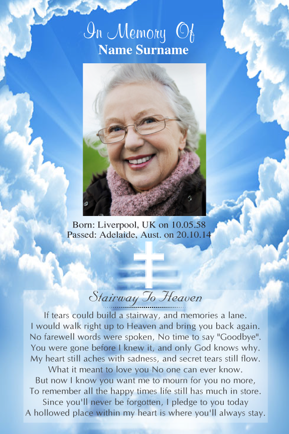 bereavement cards, blue sky memorial funeral card with photo,