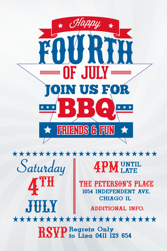 4th of July party invitation, patriotic party invitation