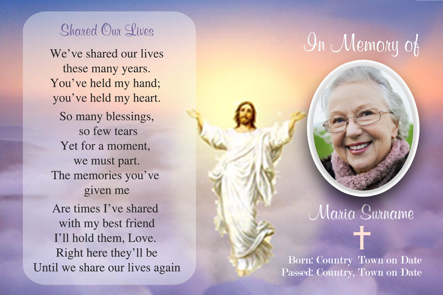 bereavement cards, memorial photo funeral card with Jesus,