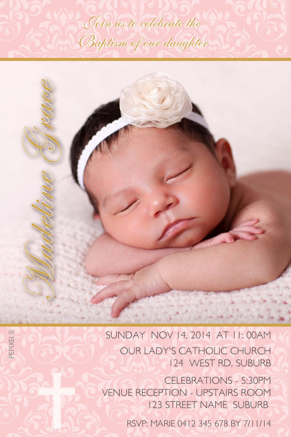 Pink and gold christening invitations with photo, pink and gold baptism invitation with photo,