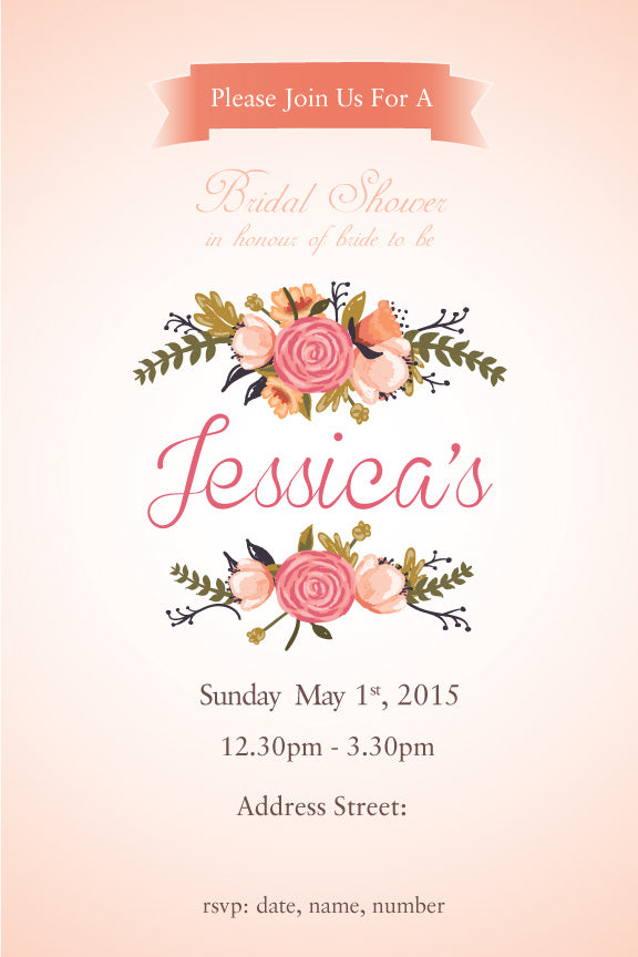 Floral bridal shower invitation,