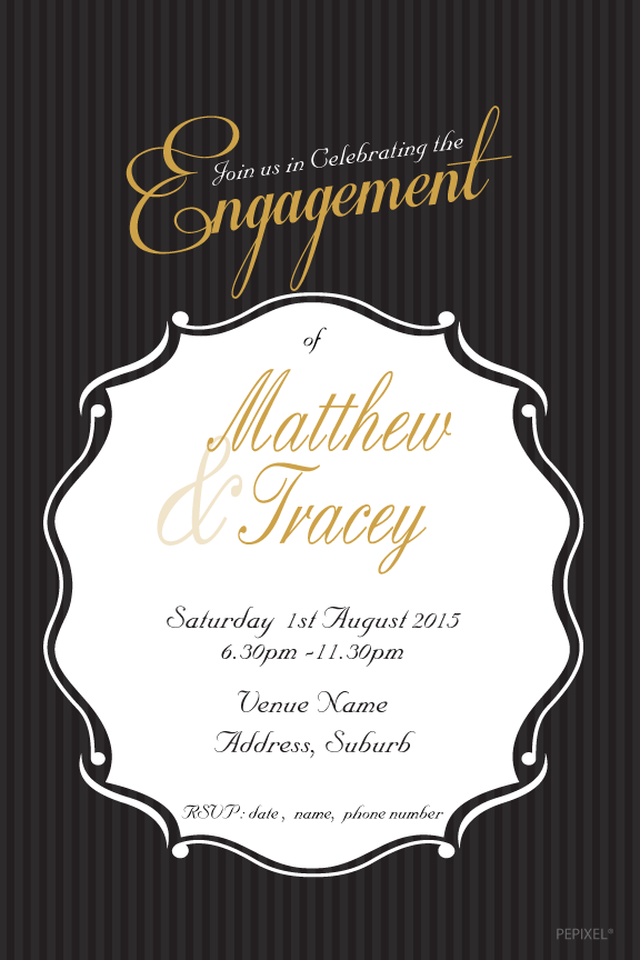 Black and gold engagement invitation,