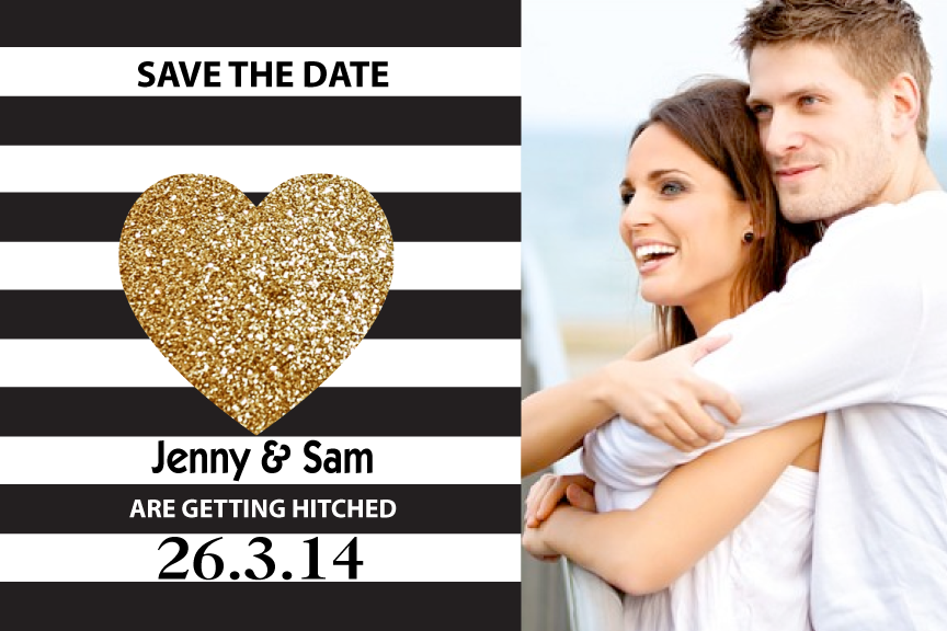 Black and white with gold heart wedding save the date card with photo