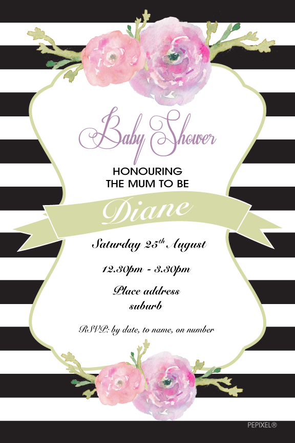Black and white striped baby shower invitation, floral baby shower invitation,