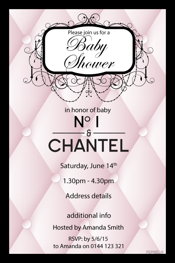Coco Chanel baby shower invitation, Chanel baby shower invitation,