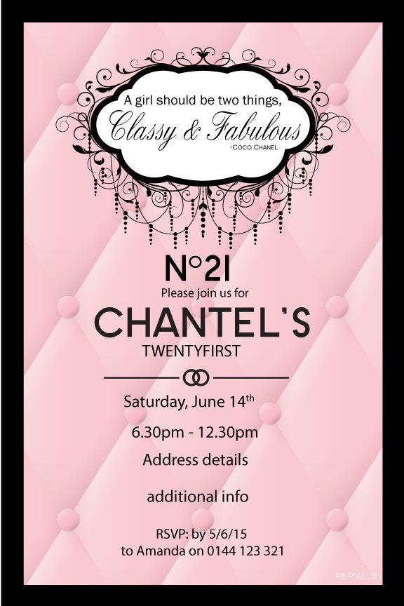 Coco Chanel birthday invitation, Chanel birthday invitation,