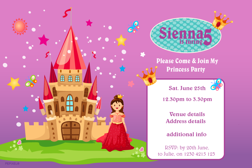 princess with castle birthday party invitation,