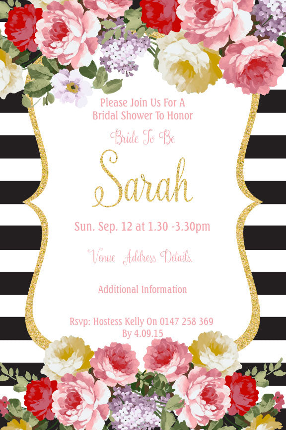 Floral and black and white striped with gold bridal shower invitation,