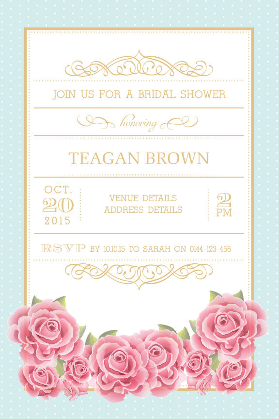Floral High tea bridal shower invitation,