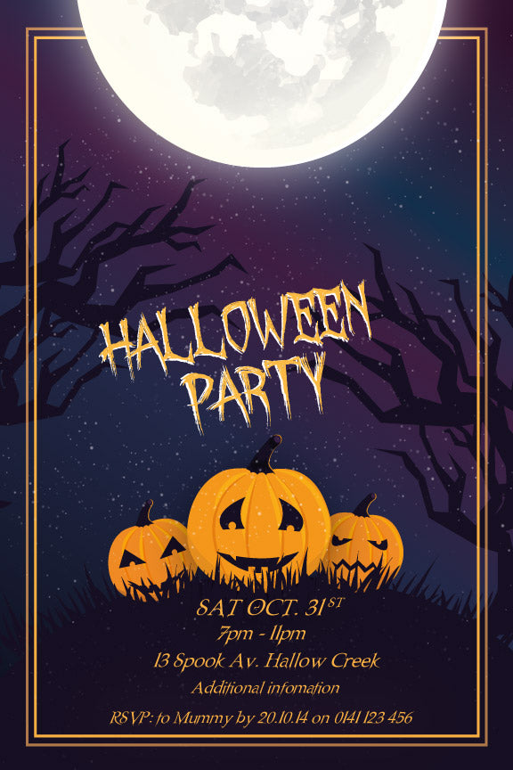 Spooky dark full moon Halloween party invitation
