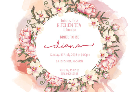 watercolor floral bridal shower invitation,