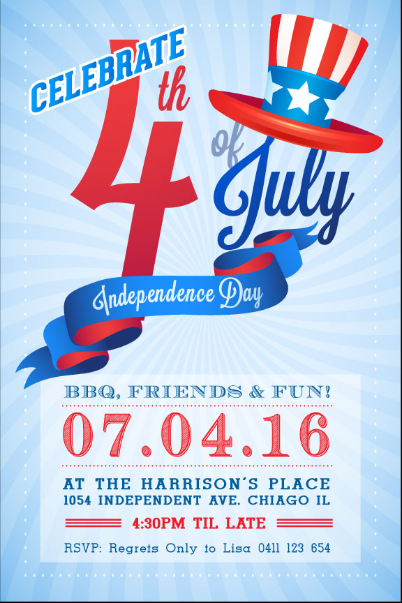 4th Of July Birthday Party Invitations Invites Uncle Sam Invitation
