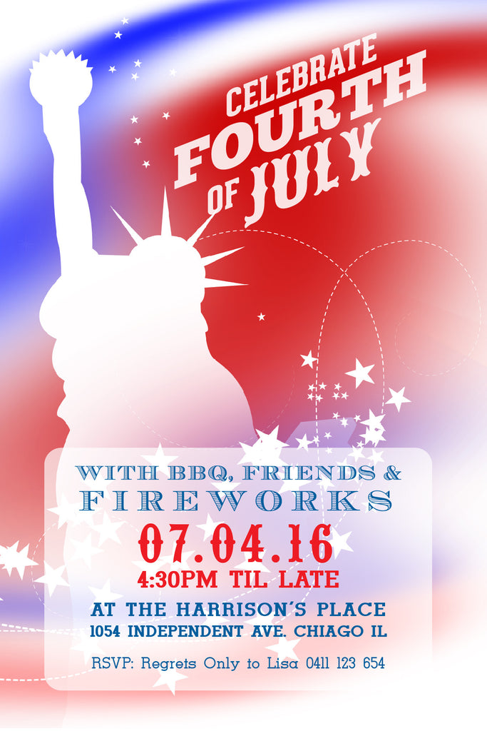 4th of July birthday party invitations,  4th of July statue of Liberty party invitation,