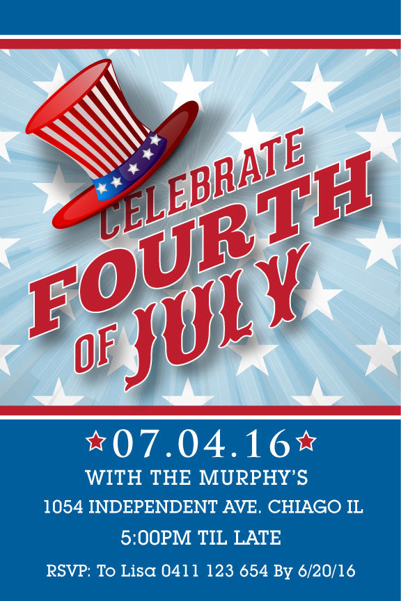 4th of July birthday party invitations,  4th July uncle Sam's hat party invite, patriotic party invitation