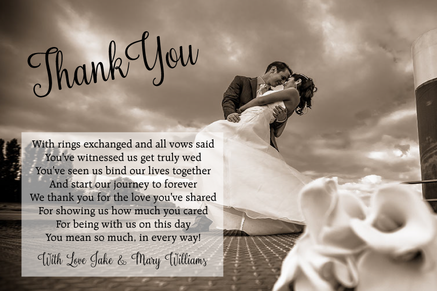 wedding thank you photo card with message,